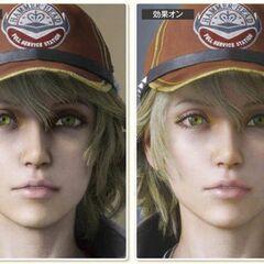 Imagem da pele de Cidney com shaders (direita) e sem (esquerda).