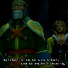 Maechen junto a Tidus en <i>Final Fantasy X</i>.