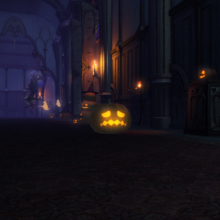 Player transformed into a pumpkin.