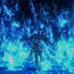 Nael walking amidst flames after the destruction of the lunar transmitter.