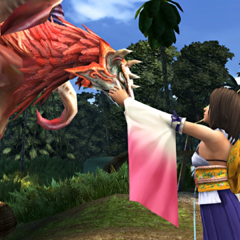Yuna summons Valefor for the first time.