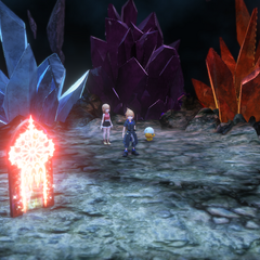 End of the cavern with Shiva, Ramuh and Ifrit crystals.