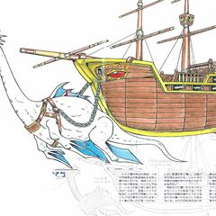 Syldra Pulling a Pirate Ship (Japanese strategy guide).