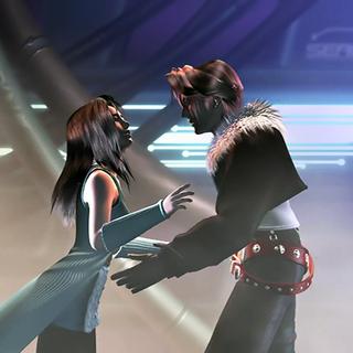 Squall rescues Rinoa.