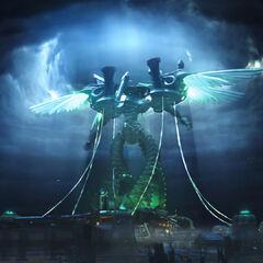 Omega above Midgar in <i>Dirge of Cerberus -Final Fantasy VII-</i>.