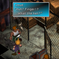 Cloud reacting to the cursor above his head in <i>Final Fantasy VII</i>.
