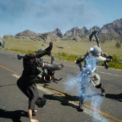 Noctis usando o teletransporte para esquivar-se de ataques inimigos.