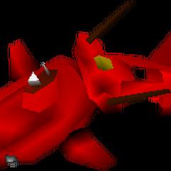 Модель поврежденной красной подлодки на карте мире.