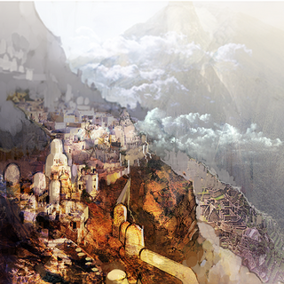 Concept artwork of the Village of the Ancients by Akihiko Yoshida.