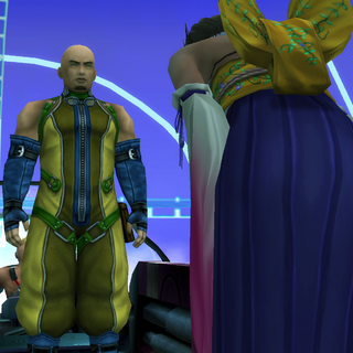 Cid meets Yuna in <i>Final Fantasy X</i>.