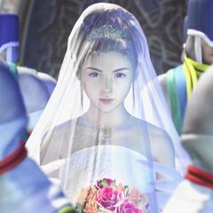 Yuna em um vestido de casamento.