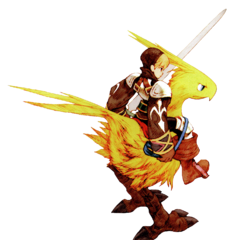 A Squire riding a chocobo.