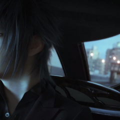 Noctis in a car.