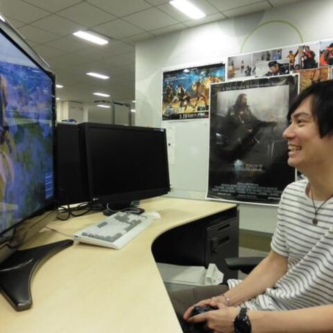Suzuki plays <i>Final Fantasy XV</i> demo for Tokyo Game Show.