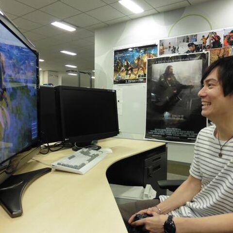 Suzuki plays <i>Final Fantasy XV</i> demo for Tokyo Game Show.