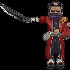 O modelo de Auron <i>in-game</i> em <i>Dragon Quest &amp; Final Fantasy in Itadaki Street Special</i>.