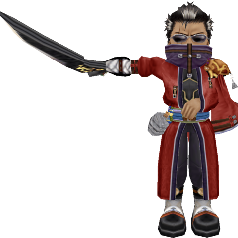 Auron's in-game model in <i>Dragon Quest &amp; Final Fantasy in Itadaki Street Special</i>.