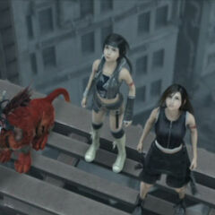 Yuffie, Tifa, Red XIII and Cait Sith.