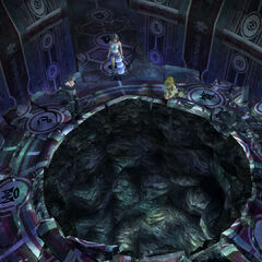 A hole in Bevelle Temple's Chamber of the Fayth in <i>Final Fantasy X-2</i>.