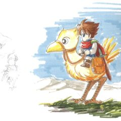 Concept art of Bartz riding Boco for the <i>Final Fantasy V</i> box cover.