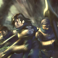Promotional artwork of Kiros, Laguna, and Ward in battle.