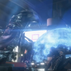 Nyx Ulric shields Lunafreya with magic in <i>Kingsglaive: Final Fantasy XV</i>.