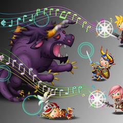 Сражение с Бегемотом в <i>Theatrhythm Final Fantasy</i>.