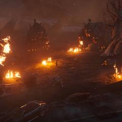 Noctis amid demonic Cerberuses.