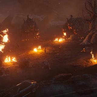Cerberi surround Noctis.