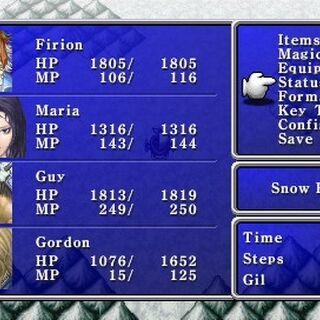Menu in the PSP version.