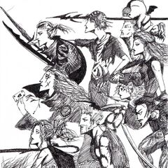 Artwork of the main characters of FFVI during the last battle by The Lonely Rose.(Excluding:Strago, Shadow, and Umaru.)