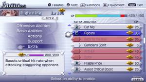 Abilities menu