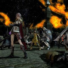 Лайтнинг сражается вместе с группой игроков.