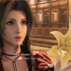 Aerith offering a flower to Cloud.