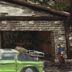 Вырезанная с цена с Лагуной за рулем зеленого пикапа в <i>Final Fantasy VIII</i>.