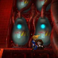 Cloud moves Tifa to a safer place in <i>Final Fantasy VII</i>.