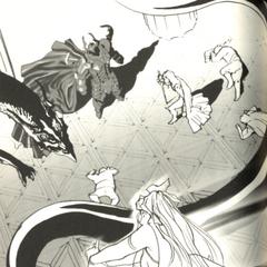 Ридия нападает на Сумеречного дракона Голбеза в официальной новеллизации <i>Final Fantasy IV</i>.