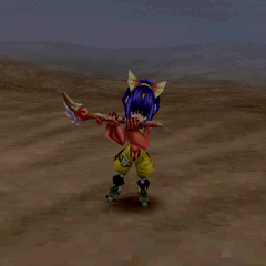 Eiko's victory pose with a flute.