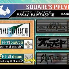 Main menu of the Square Preview demo disc with the <i>Tobal No. 1</i> issue.