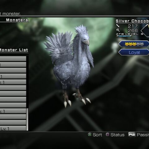 Silver Chocobo monster entry.
