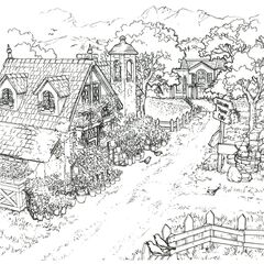 Concept art of the old woman's house and the village road.