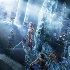 Promotional poster of Serah, Noel, Lightning, Caius and Yeul in Valhalla.