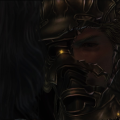Gabranth with a hole in his helmet.