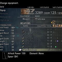 Zodiac Spear's stats in <i>Final Fantasy XII</i>.