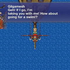 Gilgamesh no ataque a frota de Xenat em <i>Final Fantasy V</i>.