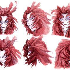Arte conceitual das expressões faciais do Trance Kuja.
