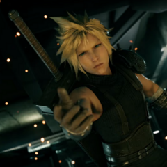 Cloud reaches out to Tifa.