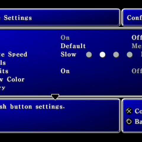 Configuration menu in the PSP version.