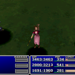 Aerith using an item on an ally.