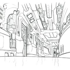 Concept art of the hallway outside the med bay.